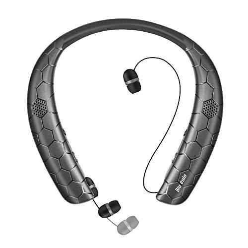 ネックスピーカー ワイヤレスイヤホン 1台2役 「Bluetooth5.0/ウェアラブル/3Dステレオ/ハンスフリー」 マイク内蔵 IPX5防水 CVC6.0ノイズキャンセリング ボイスプロント 15時間連続再生 Bluetooth ヘッドセット(ブラック)