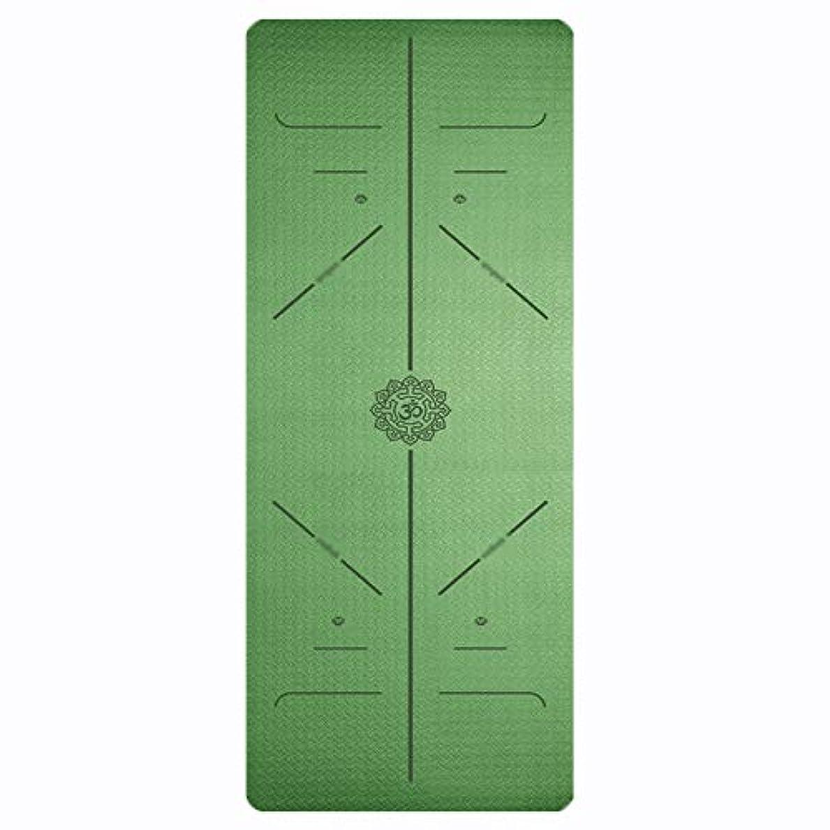 敗北どっちでもスラム街寝袋アウトドアアウトドアブッシュスリーシーズンキャンプ TPEボディラインヨガマット非スリップ高密度フィットネスクッションすべてのタイプのヨガ付きキャリングストラップ3色 で利用できる単一の二重色 (サイズ さいず : 緑-6mm, サイズ さいず : 183*80cm)
