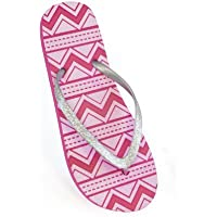 FLOSO Ladies/Womens Aztec Print Flip Flops With Glitter Straps