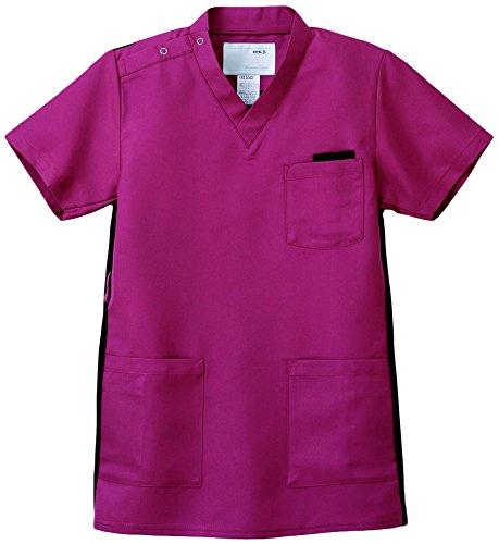 ナガイレーベン スクラブ(男女兼用) 医療白衣 半袖 バーガンディ SS RT-5062