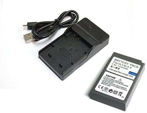 【エーポケ】オリンパス BLS-1 / BLS-5 + USB充電器のセット 互換バッテリー OLYMPUS PEN E-PL6/PEN Lite E-PL5/mini E-PM2/E-410 E-420 E-620 PEN E-P1 E-P2 E-PL1.. (バッテリー1個 + USB充電器)