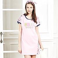 GAODUZI ナイトドレス女性夏綿パジャマ春夏モデル薄型半袖スカートホームサービスルーズ大型ワンピース