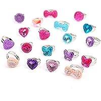Tumao 指輪セット かわいい おもちゃ 子供用 ピカピカ 宝石 こどもクラブ プリンセスリング パーティー 縁日 お祭り 夏祭りに大活躍 プレゼント 混合様式 混合色 調節可能 プラスチック製 19個 (指輪セット)