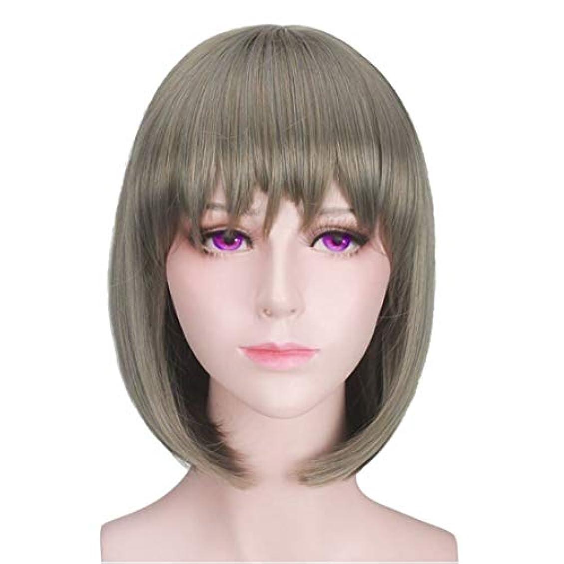 不均一考慮層YOUQIU くそ前髪ウィッグショートヘアボボヘッドハンサムな顔ふわふわナチュラルウィッグ帽子ウィッグ (色 : Photo Color)