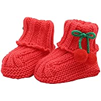 Durable Lovely Winter Baby Shoes Warm Cute Cherry Indoor Outdoor Socks Red