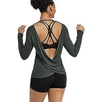 Muzniuer Women's Long Sleeve Workout Shirts Backless Yoga Shirts Cross Back Open Shirt