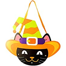 BESTOYARD 2PCS Halloween Trick or Treat Bags Black Cat Candy Goodie Tote Bags Candy Holder for Kids Cookies Gifts