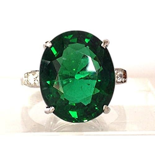 【海外製】 ASREY 大粒 15.0ct. エメラルド 指輪リング 誕生石 5月 シンセティック シルバー