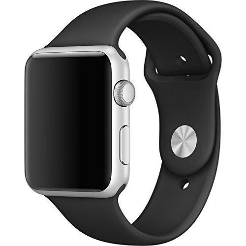 Gersymi Apple Watch バンド, アップルウォッチバンド スポーツスタイル  シリカゲル Nike+ / New Apple iWatch Series1/ 2 /3 通気穴 交換ベルト(ブラック 42MM)