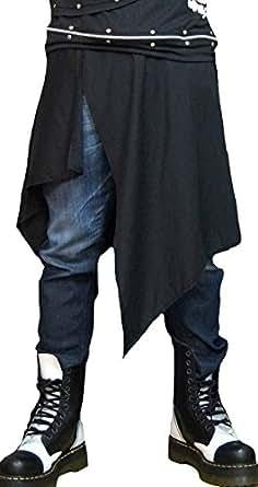 Hippies (ヒッピーズ) 巻き スカート マント シャツ風 メンズ レディース チェック 無地 腰巻 パンク V系 4922 (ブラック)