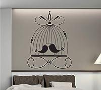 Ansyny 美しいケージウォールステッカー愛の鳥パラディシャルビニール寝室の壁デカール家の装飾窓のステッカー取り外し可能な壁紙42 * 63 Cm