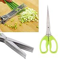 キッチンハーブはさみキッチン切削scissors-多機能ステンレススチールキッチン5ブレードはさみ寿司Shredded Scallionカットハーブスパイスはさみクッキングツールセット–フレッシュハーブはさみ