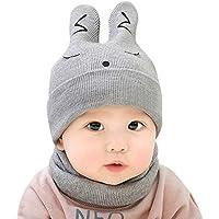 BEESCLOVER BEESCLOVER 赤ちゃん 帽子 新生児 赤ちゃん ニット帽子 +スカーフ スーツ かわいい ウサギ デザイン ウォーム ラウンド キャップ ネック 2PCS /セット