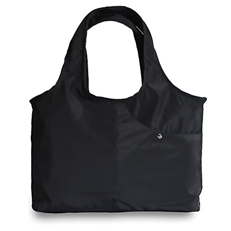 MAX World マザーズバッグ トートバッグ 超軽量 大容量 防水 ナイロン レディース シンプル a4サイズ ママバッグ ベビー用品収納 (ブラック)
