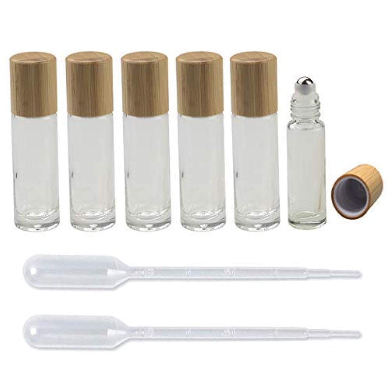モード辛な鎮痛剤6 Pieces Roll On Bottles 10ml Clear Glass Roller Bottles with Bamboo Lid Empty Refillable Essential Oil Roller...