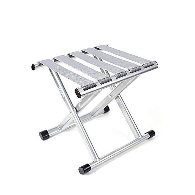 自分自身忘れる寓話丈夫なポータブル折りたたみスツール、屋外折りたたみ椅子は最大220ポンドを保持、展開サイズ10.8(L)X9.4(W)X10.6(H)インチ -耐久性が抜群 (色 : 銀, サイズ : 27.5*24*27cm)