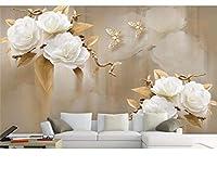Weaeo 3D壁紙の壁紙茶色のエレガントなバラの花の暮らしの部屋の3D壁紙-120X100Cm