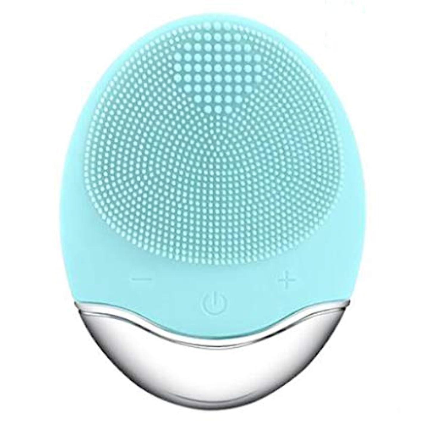生息地通路起こりやすいシリコーン電気クレンジング器具、洗顔毛穴クリーナーマッサージフェイス、イントロデューサー + クレンジング器具 (1 つ2個),Green