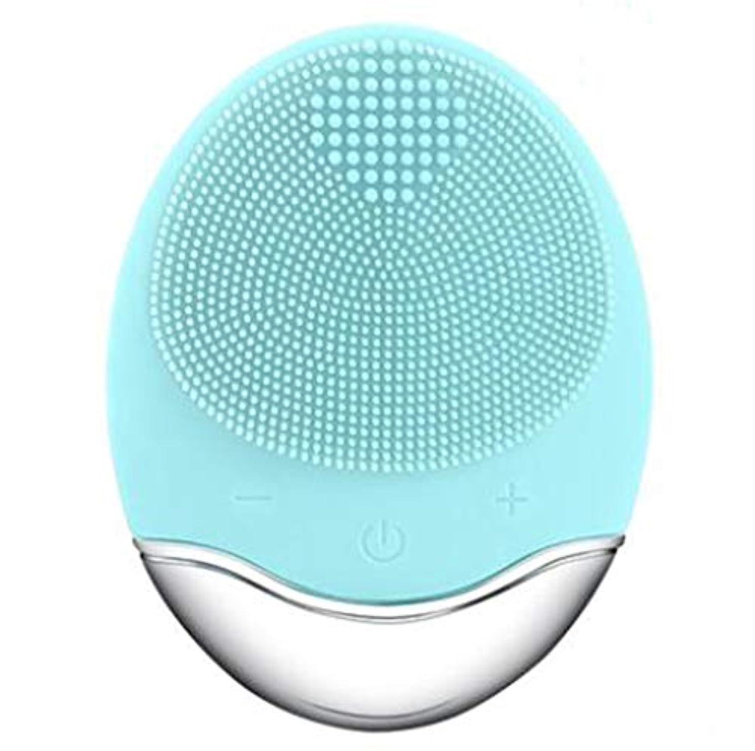 解釈したい無心シリコーン電気クレンジング器具、洗顔毛穴クリーナーマッサージフェイス、イントロデューサー + クレンジング器具 (1 つ2個),Green
