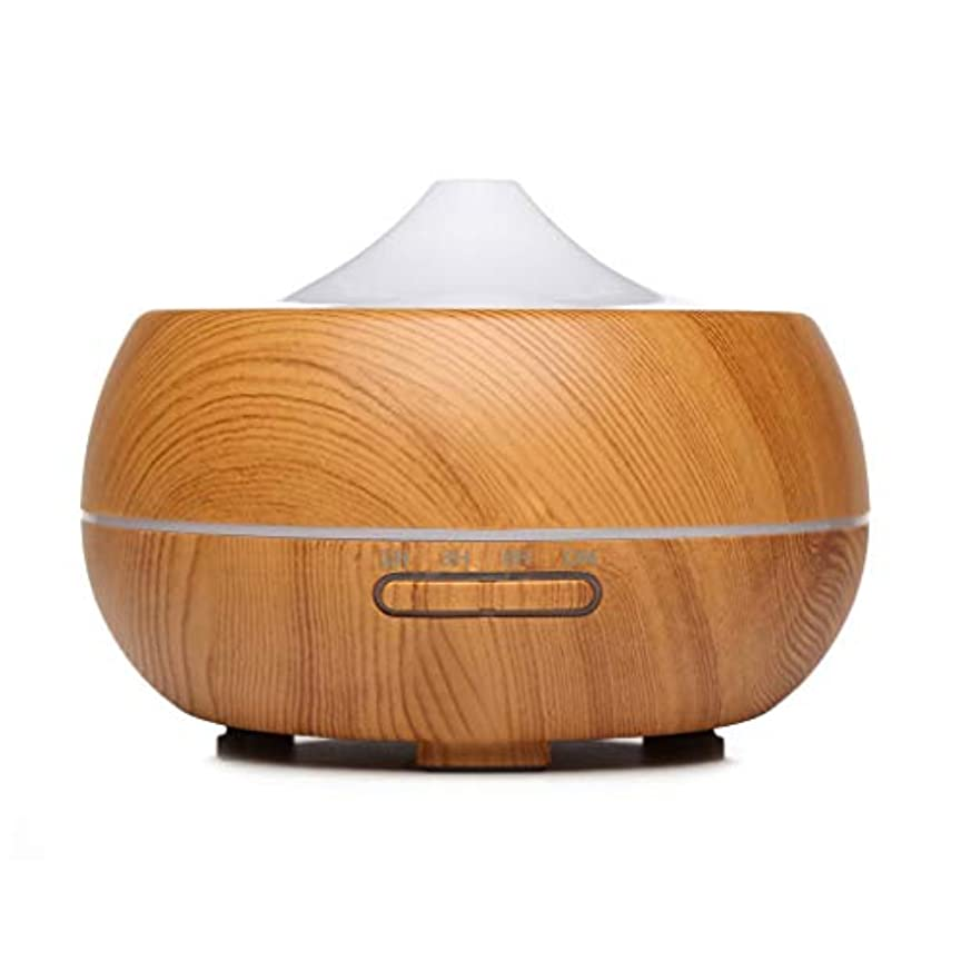 くびれたリスキーな高層ビル300ミリリットルクールミスト加湿器超音波不可欠ディフューザー用オフィスホームベッドルームリビングルーム研究ヨガスパ、木目 (Color : Light wood grain)