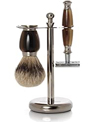 GOLDDACHS Shaving Set, Safety Razor, Silvertip, Galalith