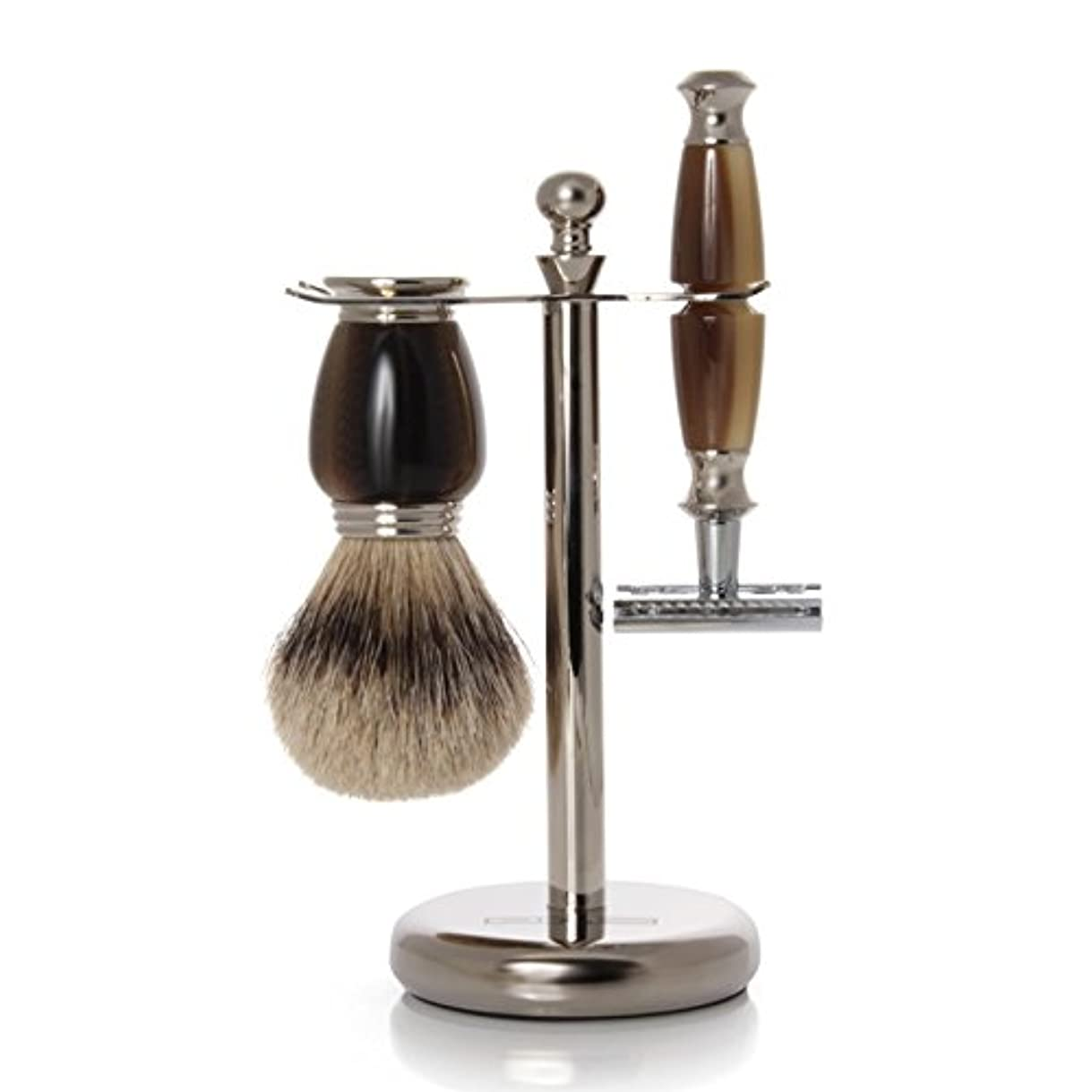 GOLDDACHS Shaving Set, Safety Razor, Silvertip, Galalith