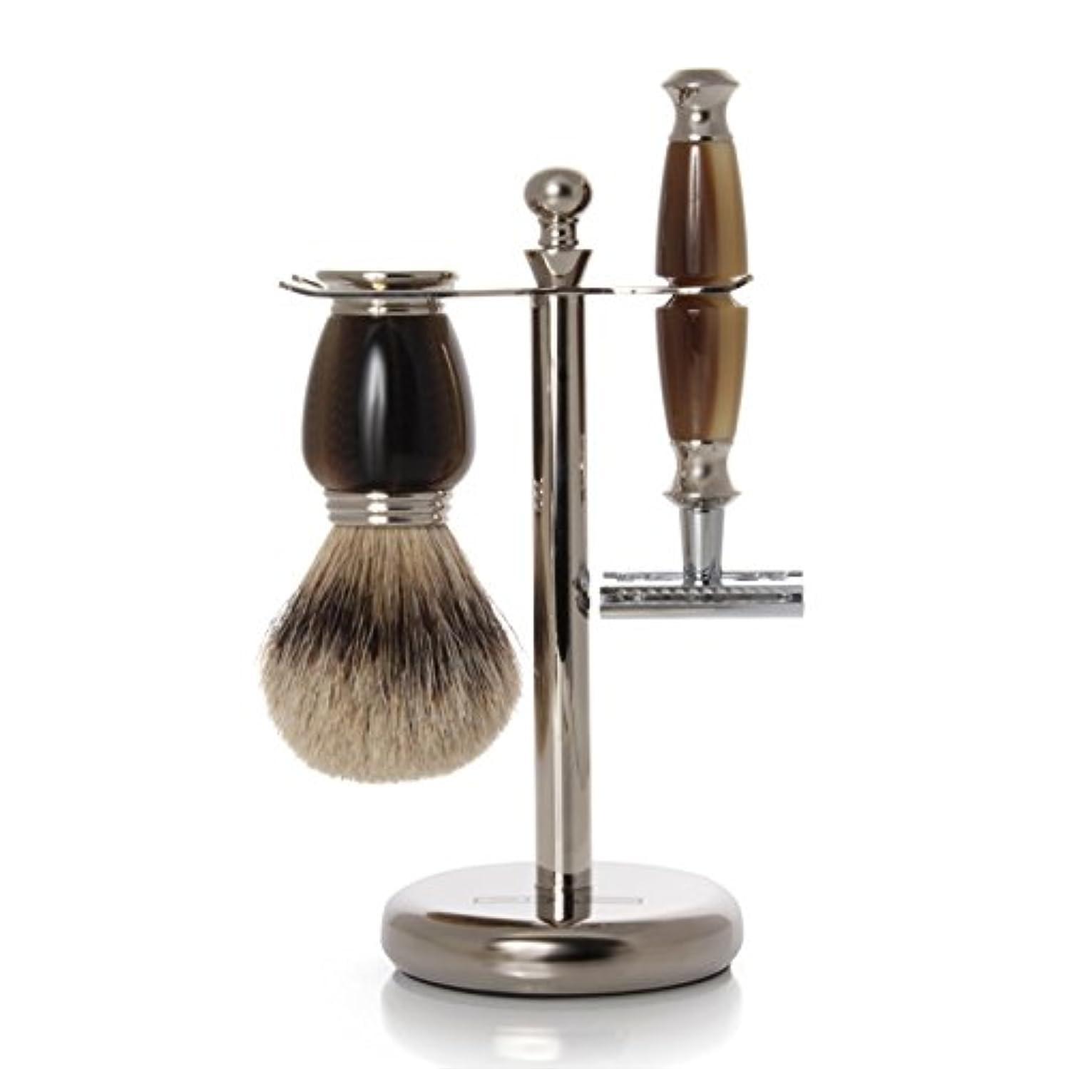 豊富に空虚孤児GOLDDACHS Shaving Set, Safety Razor, Silvertip, Galalith