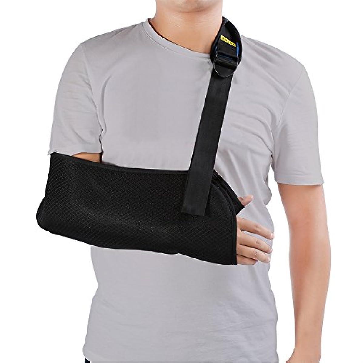 渇き二次ジャグリングアームスリング アームホルダー 腕つりサポーター 成人用サイズ 骨折 脱臼 ギプス 調節可能 通気性抜群 左右兼用 ブラック