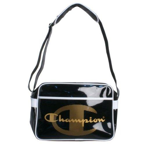 (チャンピオン)Champion エナメルバッグ 部活やスポーツジム用に最適 ショルダーバッグ ブラック F