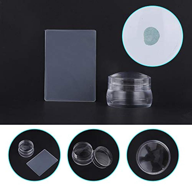 上流の技術者上流のふたのスクレーパーマニキュアの釘の印刷用具が付いている透明なシリコーンの釘の芸術のスタンパー