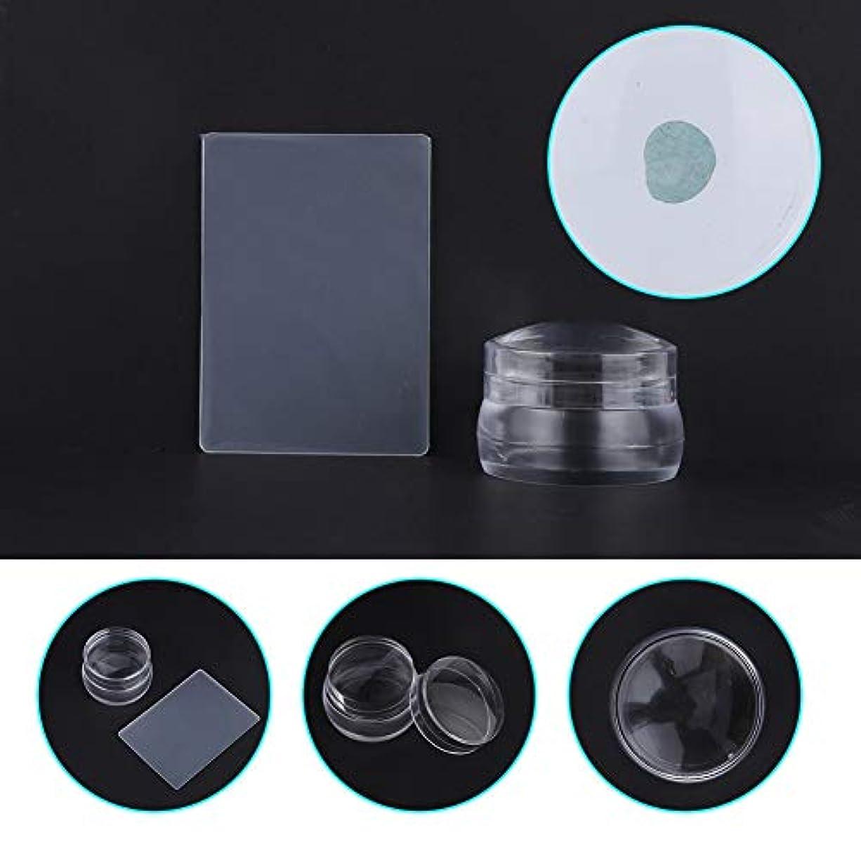 有力者レインコートヘッジふたのスクレーパーマニキュアの釘の印刷用具が付いている透明なシリコーンの釘の芸術のスタンパー