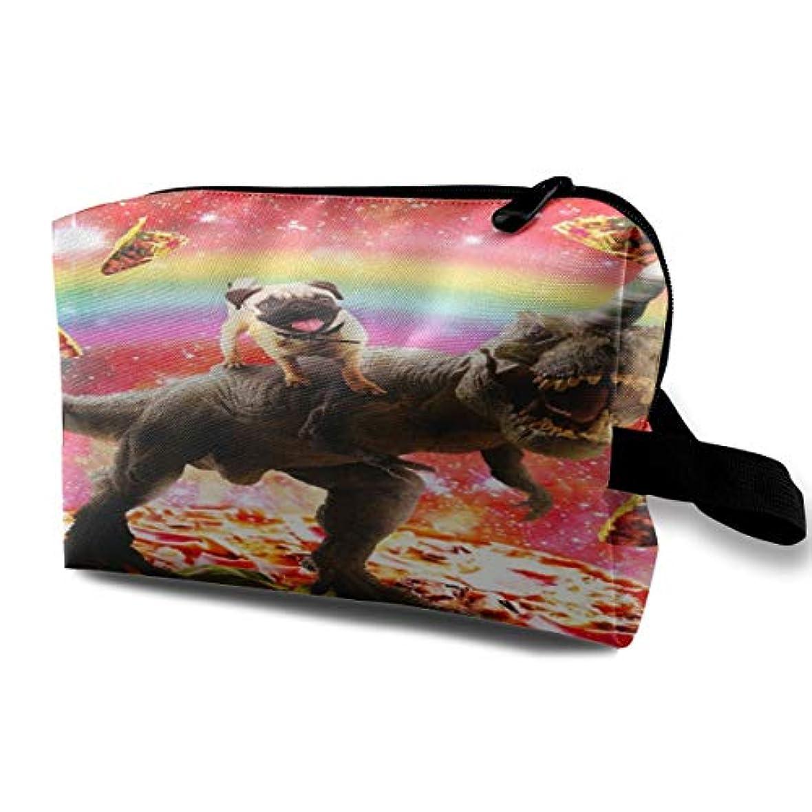 素敵な失望させる汚染Space Pug Riding Dinosaur Unicorn 収納ポーチ 化粧ポーチ 大容量 軽量 耐久性 ハンドル付持ち運び便利。入れ 自宅?出張?旅行?アウトドア撮影などに対応。メンズ レディース トラベルグッズ