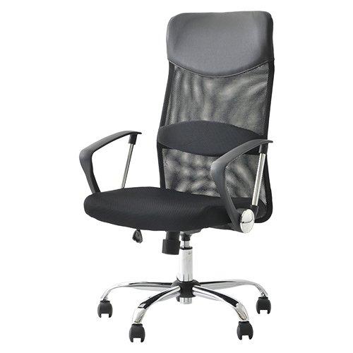 オフィスコム オフィスチェア パソコンチェア メッシュ ハイバック 腰当て付き ひじ付き ブラック 腰楽