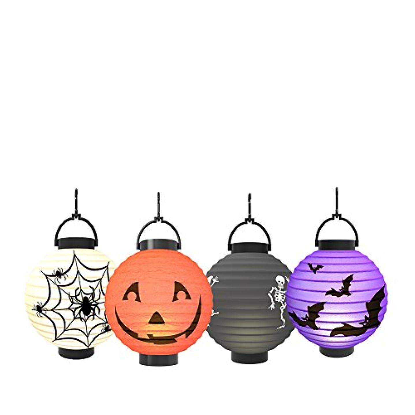 汚れた記述する熱心な(colourful) - Halloween Pumpkin Lantern - Jack o Lantern [4 Pack]LED Pumpkin Spider Bat Skeleton Light - Halloween Indoor Outdoor Holiday Party Decor Paper Lantern