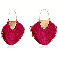Panacea Women's Magenta Silk Tassel Fan Drop Earrings, One Size