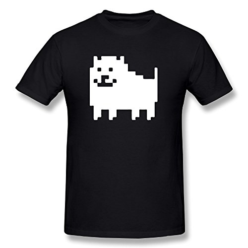 Ariesシャツ メンズ Undertale Annoying Dog ドッグ 犬 地下世界 モンスター 地獄 Tシャツ Black X-Large