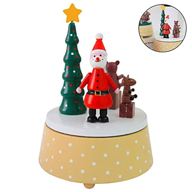 クリスマス木製オルゴール ファンタジー 回転式 クリスマスオルゴール 装飾ギフトトイ 子供 友人 家族