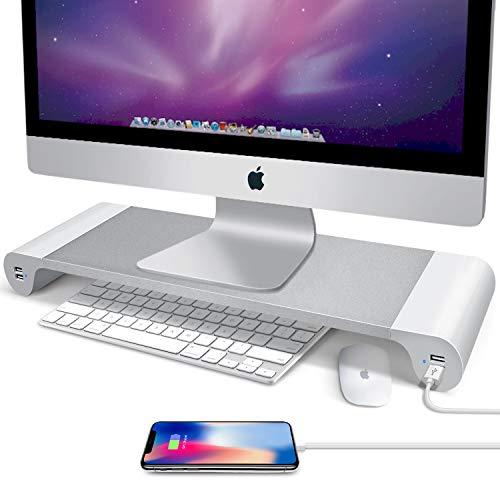 GLCON 机上台 モニタースタンド ディスプレイスタンド 机上ラック キーボード収納 USBポート×4 卓上収納 オフィス/自宅用 アルミニウム製 電源タップ付き (シルバー)