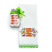 DEMDACO Recipe for Living Tea Towel and Mason Jar Set, Multicolor