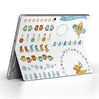 Surface go 専用スキンシール サーフェス go ノートブック ノートパソコン カバー ケース フィルム ステッカー アクセサリー 保護 冬 動物 結晶 013977