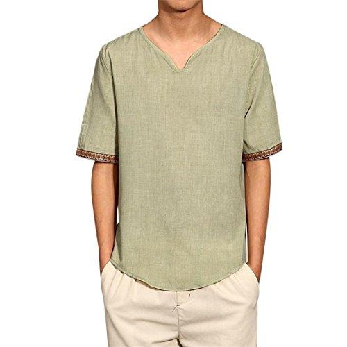 男性 Tシャツ、三番目の店 メンズ 伝統的 リネン シャツ カジュアル 半袖 Vネック トップルーズ ブラウス