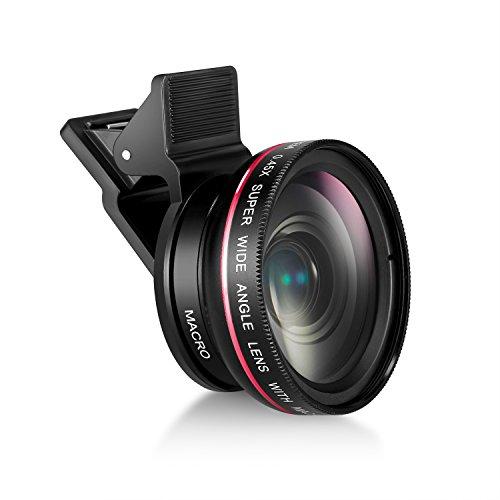 Mactrem スマホ用カメラレンズ 0.45倍広角と12.5倍接写 120°視野角 5cm超大口径 クリップレンズ ケラレなし iPhone/Android対応