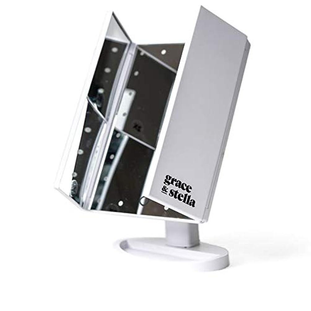 分割耐久始まりGrace & Stella LEDライト メイクアップミラー 三面鏡 24個のLED 3種類の拡大鏡機能 2倍 3倍 10倍 最大180°角度調節機能卓上 折りたたみ 化粧鏡 鏡 2WAY給電 USB電源コード給電 バッテリー給電機能付き 8.9 x 19.1 x 25.4cm 898g