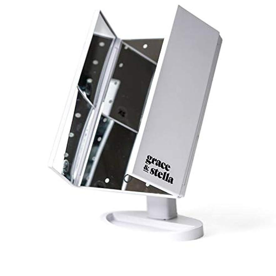 古風ななかなか同じGrace & Stella LEDライト メイクアップミラー 三面鏡 24個のLED 3種類の拡大鏡機能 2倍 3倍 10倍 最大180°角度調節機能卓上 折りたたみ 化粧鏡 鏡 2WAY給電 USB電源コード給電 バッテリー給電機能付き 8.9 x 19.1 x 25.4cm 898g