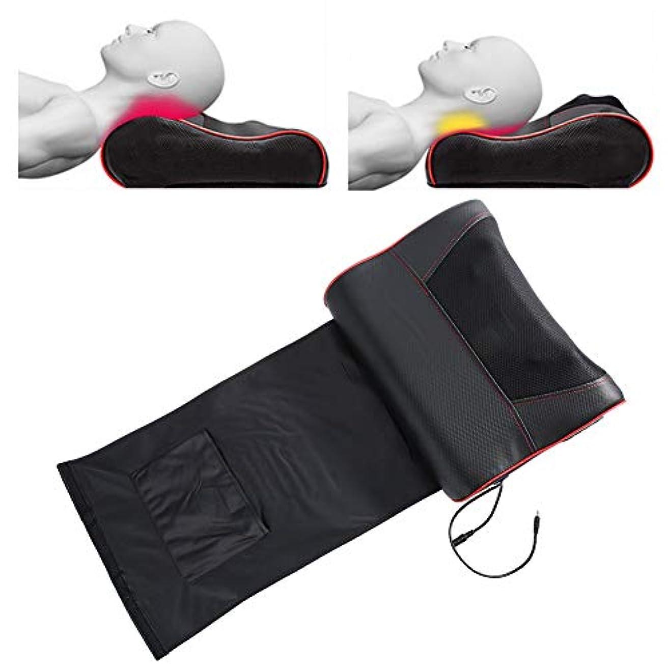 青ピンポイント円形頸部マッサージ枕、多機能マッサージ枕、灸ホットコンプレックスネックウエストショルダーマッサージ用全身筋肉痛(US-Plug)