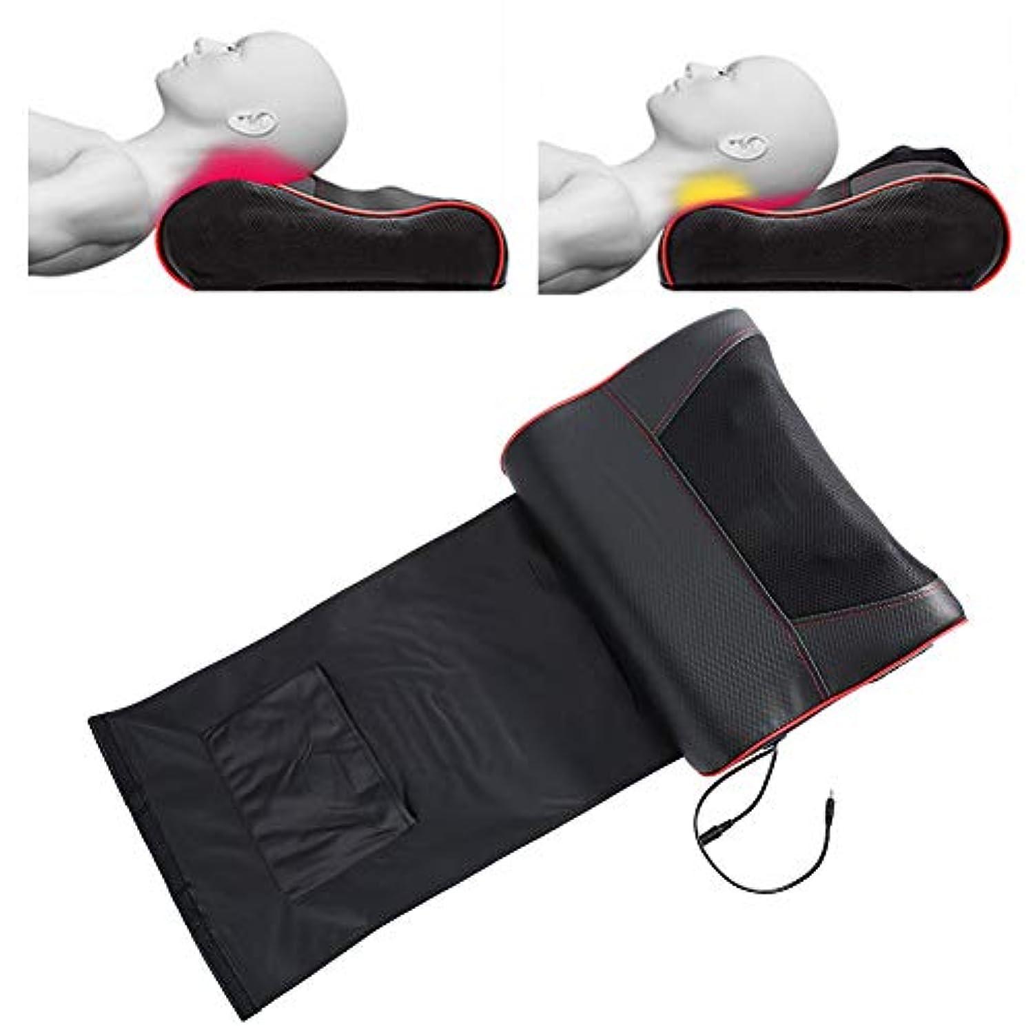 ベル糸ログ頸部マッサージ枕、多機能マッサージ枕、灸ホットコンプレックスネックウエストショルダーマッサージ用全身筋肉痛(US-Plug)