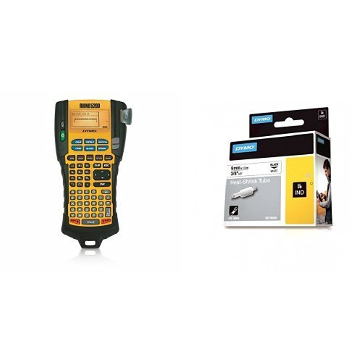 誘惑する深い創造DYMO RhinoPRO 5200 Industrial Label Printer with 3/8 Heat-Shrink Cable Labels (1755749 & 18053) [並行輸入品]
