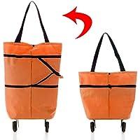 エコバッグ 折りたたみ ショッピングキャリーバッグ 軽量 機内持ち込みOK キャスター付き (オレンジ)