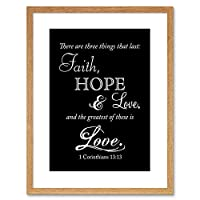 Corinthians 13 Faith Hope Love Quote Bible Framed Wall Art Print