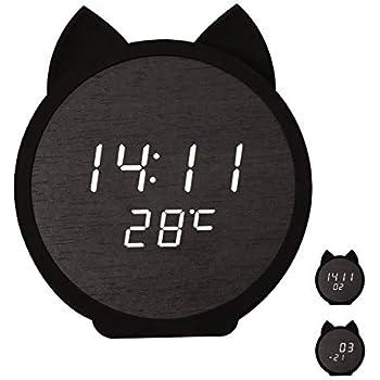SUNOKY 目覚まし時計 木製 ねこ デジタル 置き時計LED アラーム 秒間表示 カレンダー多機能 温度計 省エネ 音声感知 USB給電 メモリー機能 入園 入学祝い